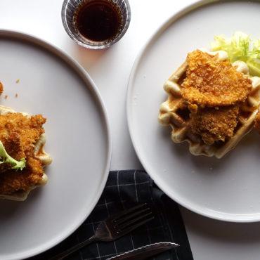 Gofres de pollo o chicken waffles