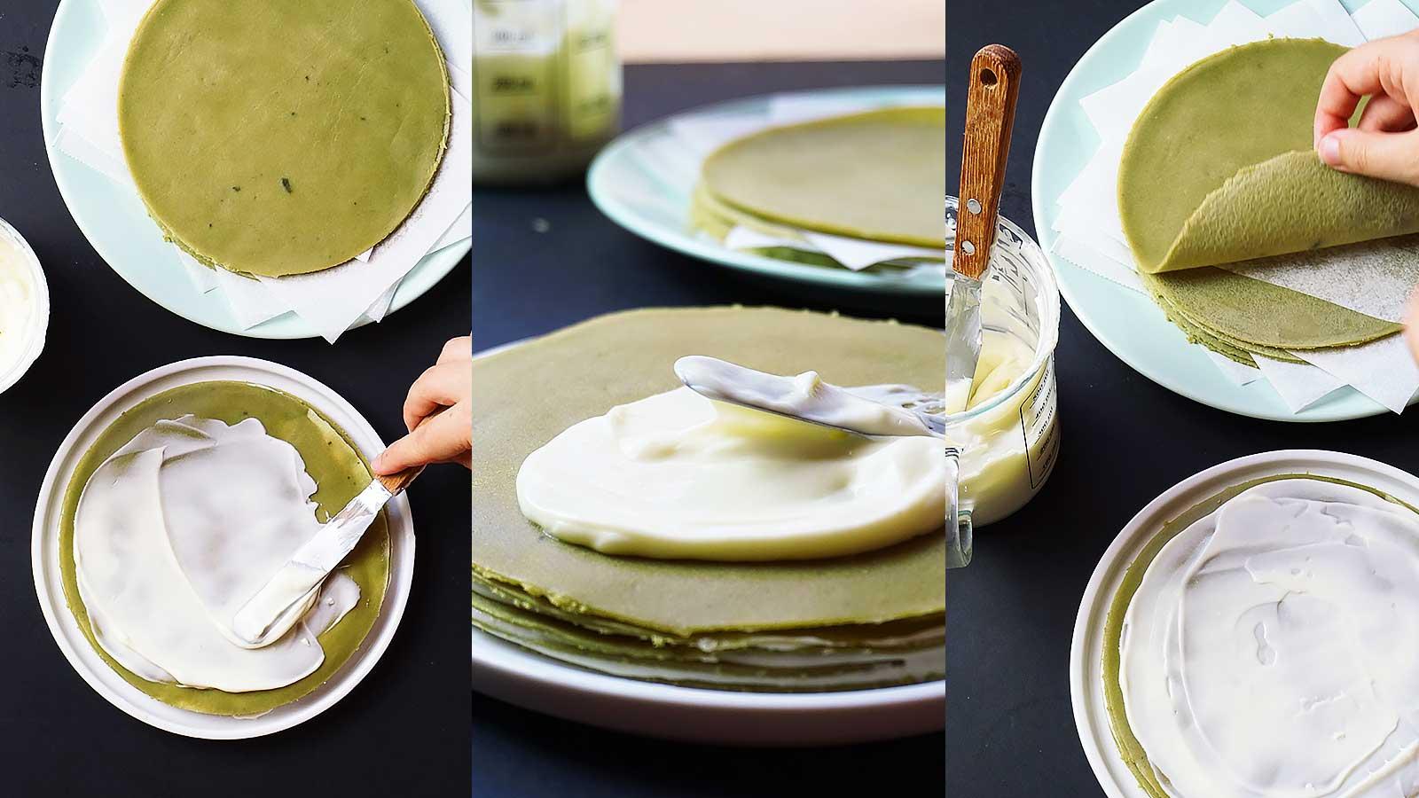 Paso a paso del montaje de la tarta de crepes de té matcha