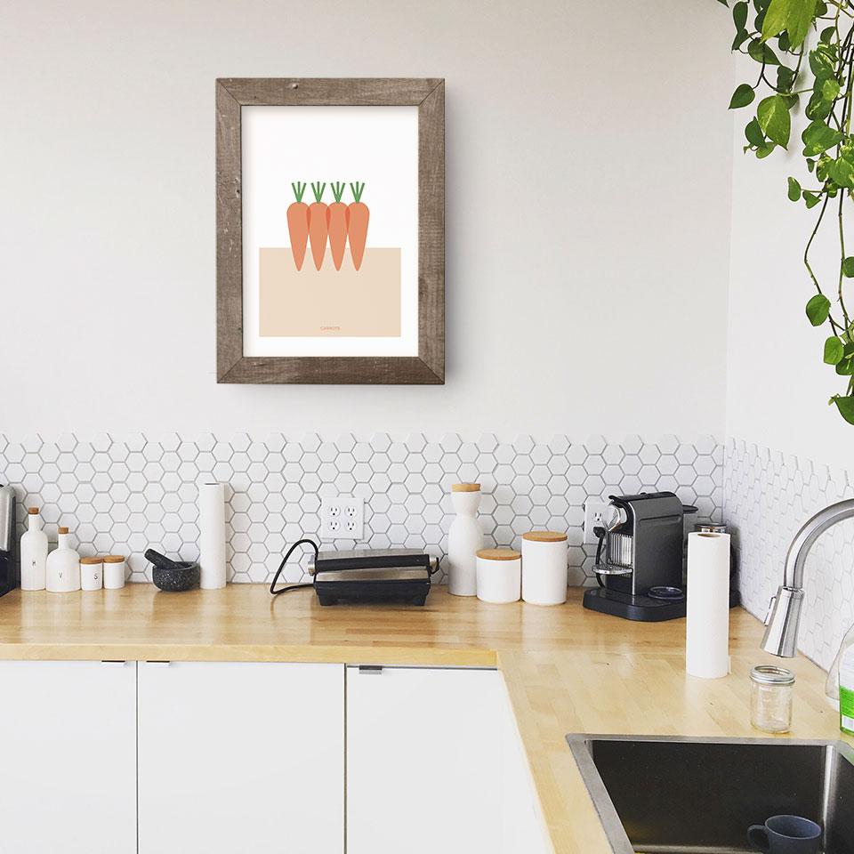 Póster Carrots en una cocina