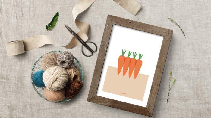 Póster Carrots de Miss Gourmand sobre una mesa