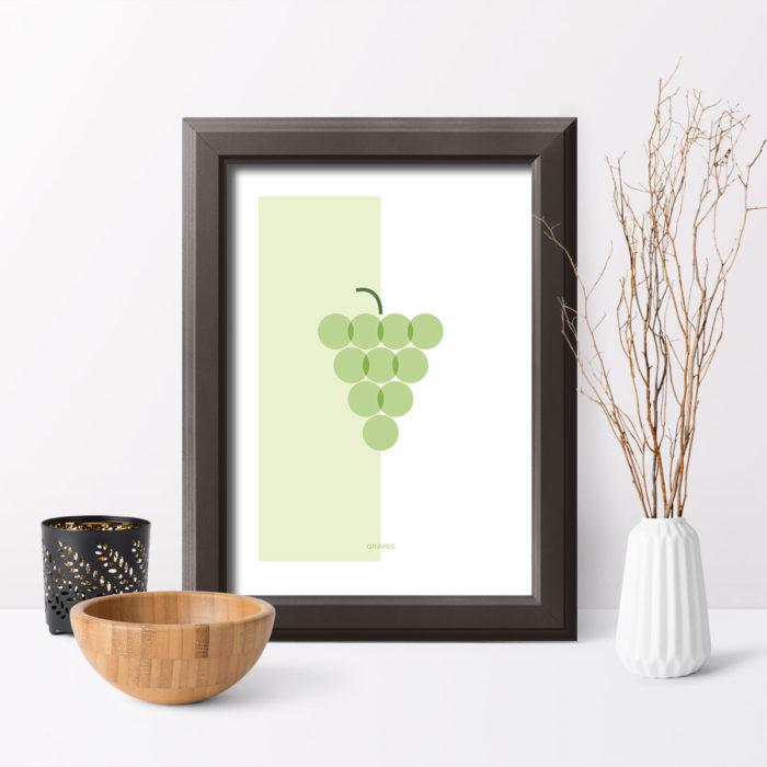 Póster Grapes con marco