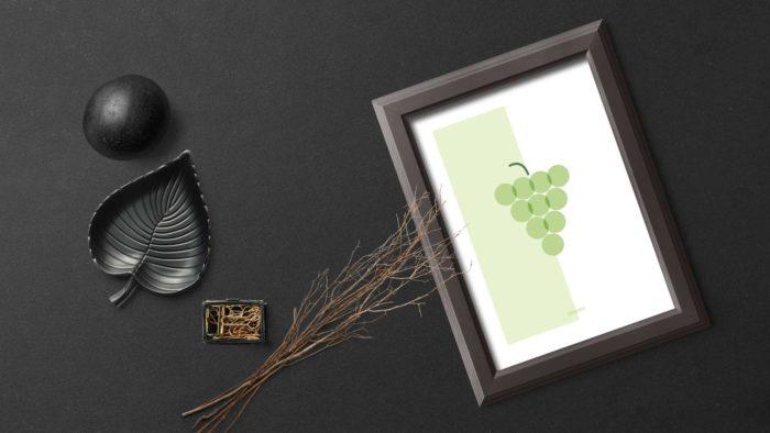 Póster Grapes de Miss Gourmand sobre la mesa