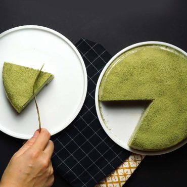 Tarta de crepes de té matcha