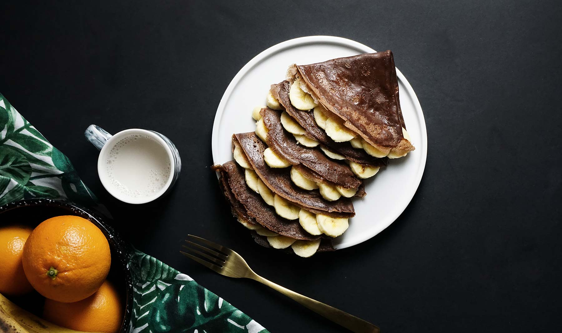 Crêpes de chocolate con plátano